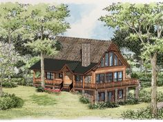 Buster Brown Cabin Front Elevation -- Natural Element Homes How To Build A Log Cabin, Cabin House Plans, Log Cabin Kits, Log Home Plans, Basement House Plans, Mountain House Plans, Cabin Floor Plans, Log Cabin Homes, Barn Plans