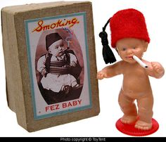 Smoking Fez Baby with smoke-ring cigarettes and keepsake box