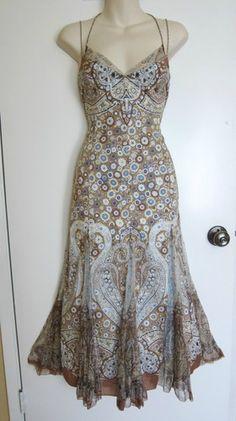 Elie Tahari Anthropologie Floral Long Maxi Dress Bohemian Romantic Ruffles s 6   eBay $15.49