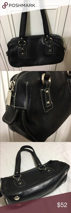 "Perlina Bag Cute leather, satin lined, inside zip pocket, zip closure, silver hardware 8"" handle drop Perlina Bags"