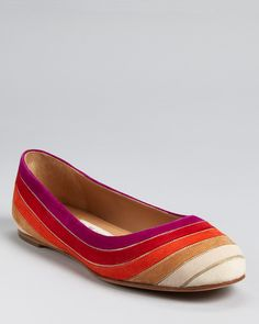 Salvatore Ferragamo Flats - Bruck Multicolor A rainbow of rich fall hues lights up a chic suede flat, dressed up with golden chain details. From Salvatore Ferragamo.