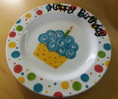 "Ready to Ship - 9"" Hand Painted Ceramic ""Happy Birthday"" Plate - Multi Color"