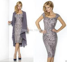 New Grey Mother Of The Bride Lace Dress Chiffon Shawl Wedding Social Occasion Vestidos Fashion Lace Mom's Dress Formal Size 14