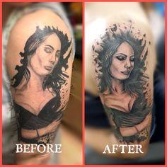 #dktattoos #dagmara #kokocinska #coventry #coventrytattoo #coventrytattooartist #coventrytattoostudio #emeraldink #emeraldinkltd #emeraldinkcoventry #lady #ladytattoo #coverup #coveruptattoo #reworktattoo #tattoofixer @dagmarakokocinska Coventry, Portrait, Tattoos, Lady, Tatuajes, Headshot Photography, Tattoo, Portrait Paintings, Drawings