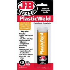 J-B WELD PlasticWeld Epoxy Putty 5.78      Plastic Repair Epoxy Putty     Works on rigid and semi-flexible plastic including ABS and PVC pipes     Great for fiberglass parts, automotive trim and bumpers, vinyl siding,  ok semi flexible plastic - drinking water safe - dries white