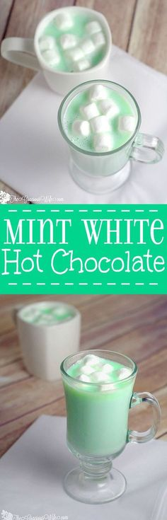 Homemade Mint White Hot Chocolate is a fast and easy homemade hot chocolate recipe made with white chocolate and mint!creamy, white chocolate with a burst of peppermint flavor to create a perfect decadent Christmas, winter, St. Patrick's Day, or holiday treat. Yum! Definitely making this ASAP!