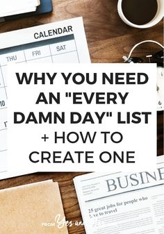 GOOD READ Looking for productivity tips or trying to stay positive? You might need an Every Damn Day List! Click through and see how this super simple tool can help you stay on track towards your goals, not matter what else is going on with your life! Planners, To Do Planner, Day List, Time Management Tips, Business Management, Life Organization, Organizing, Business Organization, Best Self