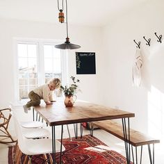 Hairpin leg table and bench with modern chairs! My dream set up!