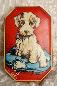 Vintage Collectable Blue Bird Toffee Tin w Puppy Dog Pillow Ohoh Lovely | eBay