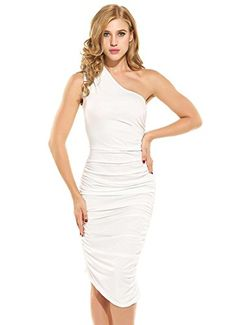 caf7e4f702d5 Amazon.com: Women Casual One Shoulder Stretch Ruched Bodycon Cocktail Party  Club Midi Dress: Clothing