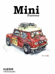 Mini Cooper S, Mini Cooper Classic, Classic Mini, Classic Cars, Space Drawings, Car Drawings, Vintage Sports Cars, Vintage Cars, Dream Garage