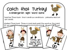 Catch that Turkey Kindergarten Sight Word Game