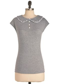 Serving Smiles Top - Mid-length, Grey, Buttons, Vintage Inspired, Casual, Peter Pan Collar, Cap Sleeves