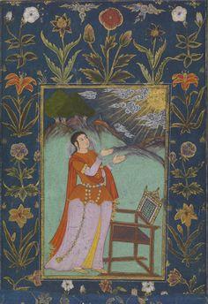 Woman Raising Her Hands Towards the Sun. Opaque watercolor on paper, Deccan, Andhra Pradesh, Golconda, ca.  1650 - 1660, Virginia Museum of Fine Arts