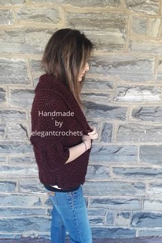 Hand knit Claret cocoon cardigan with shawl collar●Made using 80�rylic and 20 Wool●Size on display is XS- MD● Model US 4 34D● Approximately 26 inches shoulder to hem● bust approximately 38-40 inches Cocoon Cardigan, Beauty Supply, Her Style, Hand Knitting, Envy, Shawl, Display, Style Inspiration, Trends