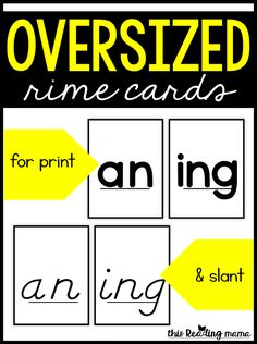 Oversized Rime Cards - This Reading Mama Word Study Activities, Spelling Activities, Reading Activities, Spelling Ideas, Word Work Centers, Printable Alphabet Letters, Spelling Worksheets, Making Words, Word Families