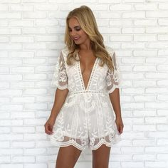 dd5b4061499 Popping Chic   Lace Romper in White White Romper Dress