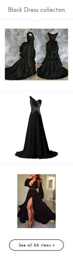 """Black Dress collection"" by thesassystewart on Polyvore featuring costumes, gothic vampire costume, masquerade costumes, gothic costumes, victorian costume, goth costume, dresses, gowns, gown and vestidos longo"