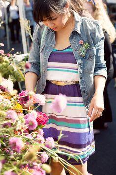 stripes + denim + vintage brooches