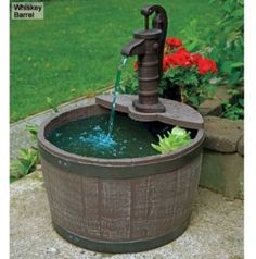NEW Little Giant 566740 Whiskey Barrel Classical Fountain  Weather Wood