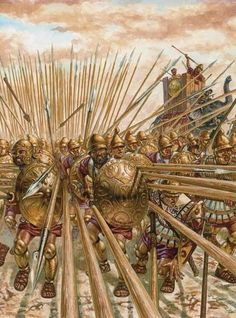 Battle of Asculum 279 BC . The Phalanx advances with the support of Elephants…