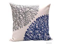Pillow cover  blue  grey  -  geometric blue pillow - european design