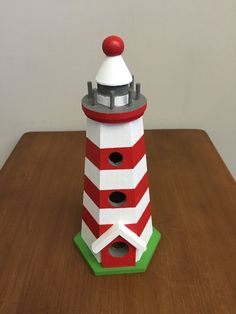 Decorative Birdhouse  Lighthouse  by OhBabyCake on Etsy
