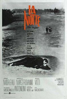 La Notte (Michelangelo Antonioni, 1961) La fin d'un amour, l'ennui qui ronge Jeanne Moreau, sa soif de légèreté, l'insoutenable indifférence de Mastroianni en écrivain dandy, les dernières 24 heures de la vie de ce couple à Milan. Et Vitti qui apparaît et préfigure L'eclisse...