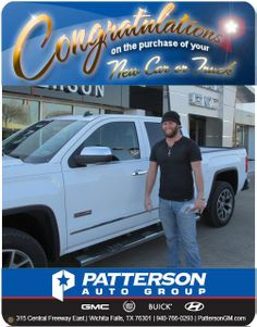 Congratulations to David Craft and his new 2014 GMC Sierra Crew Cab! - From Steve Garner at Patterson GM