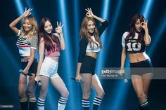 Hyolyn (Hyorin), Dasom, Bora and Soyou of South Korean girl group SISTAR perform onstage during their new album 'Touch and Move' showcase at Ilchi Art Hall on July 2014 in Seoul, South Korea. South Korean Girls, Korean Girl Groups, Sistar Kpop, Yoon Bora, One More Day, Jazz Dance, Starship Entertainment, Kpop Outfits, Your Girl