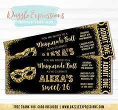 Printable Black and Gold Glitter Masquerade Ticket Birthday Invitation | Elegant Party | Black Tie Event | Mask or Costume Party | 16th, 18th, 21st, 30th, 40th, 50th Invitation | Sweet Sixteen | Favor Tags | Cupcake Toppers | Sign | Photo Props | Food Label | Banner | Party Package Decor