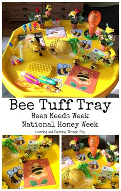 Bee Week Tuff Tray Bee Activities for Kids Insect Activities, Eyfs Activities, Playdough Activities, Counting Activities, Gruffalo Activities, Shape Activities, Physical Activities, Holiday Activities For Kids, Spring Activities