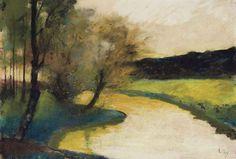 Lesser Ury (All, 1861-1931), Herbstliche Bachlandschaft im Abendlicht [Autumn stream in the evening light], vers1900, pastel sur carton, 35.5 x 50 cm