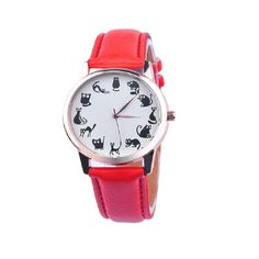 Casual Cat Print 12 Emotions Leather Band Watch