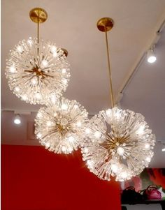 dandelion chandeliers -- these SHALL be in my daughter's room, especially if the lights are fiber optic and thus low energy usage.