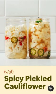 Spicy Cauliflower, Cauliflower Recipes, Spicy Pickled Cauliflower Recipe, Pickled Veggies Recipe, Pickled Carrots, Pickled Eggs, Tamales, Canning Recipes, Bread Recipes