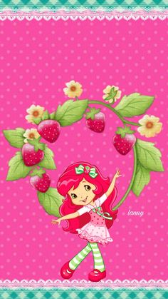 Moranguinho Strawberry Shortcake Pictures, Strawberry Shortcake Characters, Strawberry Shortcake Doll, Hello Kitty Wallpaper, Heart Wallpaper, Iphone Wallpaper, School Board Decoration, Simple Wallpapers, Borders For Paper