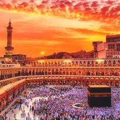 Makkah(Mecca)- Golden sky..like the heavens above, overlooking the Kaa'bah!!/Z