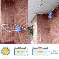 Tezno plafond waslijn extensible Cuncial Extensible droogrek in geanodiseerd aluminium dak. Handig apparaat om omhoog en omlaag. oppervlak 16 tot 19 m. legge...
