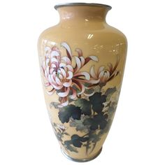 A Japanese cloisonne enamel vase by Ando Jubei Meiji period vase. An early century enamel worked in silver wire decorated with stalks of spider Chrysanthemums Japanese Vase, Japanese Porcelain, Porcelain Jewelry, Porcelain Vase, Painted Porcelain, Modern Decorative Objects, Asian Vases, China Dinnerware Sets, Painted Vases