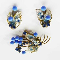 Rare blue Austrian vintage jewellery is from the 1930s with blue bead and flowers brooch and matching earrings Fabulous Austrian crystal diamante