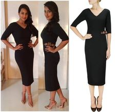 GET THIS LOOK -Sonakshi Sinhalooks spectacular in a dress byNikhil Thampi - Label.Shop at -http://www.perniaspopupshop.com/designers-1/nikhil-thampi