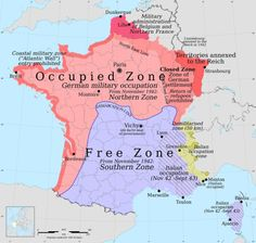 mapsontheweb: Map of occupied France. More World War 2 maps >>