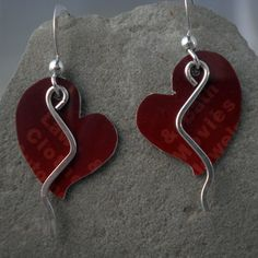 Red Hearts Sterling Silver and Recycled Gift by MetalworksJewelry, $20.00 #ibhandmade