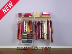 Great idea for dorm rooms - add helper shelves below the clothes when you don't have a low rod.  Thanks Rubbermaid. Closet Helper™ 2-Shelf Unit