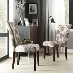 Quinby Parson Floral Dining Chair Wood/Gray (Set of 2) - Inspire Q : Target
