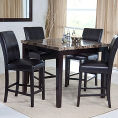 Palazzo Piece Counter Height Dining Set Hayneedle Pub Sets - Marble top bar height dining table