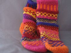 Ravelry: Silly Socks pattern by Karen Hodge, a great pattern including detailed tutorial on Turkish cast-on for toe-up socks using magic loop. DK