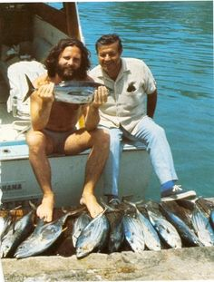 Jim Morrison and his attorney in the Bahamas, 1970.