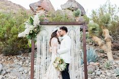 California Dreamin' desert boho macramé wedding with tropical accents and muted neutral palette     #neutralwedding #desertwedding #bohowedding